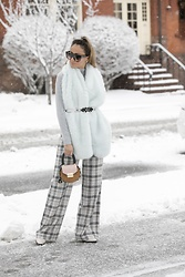 Lauren Recchia - Banana Republic Faux Fur Scarf, Club Monaco Plaid Pants, Salar Milano Bag - Soft Stunners
