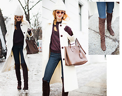 Jorinna Scherle - Acne Studios Beanie, Bruglia / Riccardo Cartillone Overknee Boots, & Other Stories Sweater, Prada Bag, Cos Jeans, Garrett Leight Glasses - SNOW-WHITE COAT