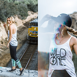 "Ashley Prybycien - Lilybod Clare Bermuda Splice Leggings, Reef Girls Walled Low Womens Shoes, Byjamillette ""Feel No Ways"" Cap - Live to Inspire"