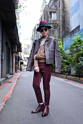 Linus Hung - Tim Ke Leather Jacket, Tim Ke Sweater, Tim Ke Trousers, Vanger Boots - Made in Taiwan
