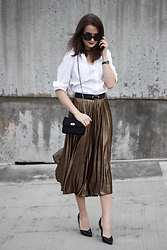 Nicole Dominique - Sans Souci Metallic Pleated Skirt, White Button Down, Black Heels, Rebecca Minkoff Quilted Chain Bag (Similar) - Metallic Pleated Skirt