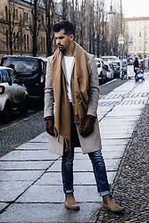 Dominik H. Mueller - Review Camel Scarf, Zara Grey Coat, Closed Blue Jeans, Vagabond Leather Boots, Pearlwood Leather Gloves, Zara White Sweater - 15/01/17 CAMEL