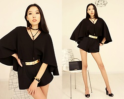 Aibina Yeshkeyeva - Chic Wish Black Playsuit - IN THE NIGHT