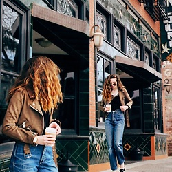 The Indie Girl Fleming - Zaful Zipper Suede Jacket, Zaful Velvet Eyelash Cami, Calvin Klein Vintage Flare Jeans, Jord Wood Watch - WEEKEND UNIFORM WITH ZAFUL