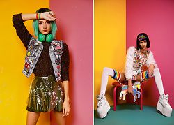 Indya S. - Yru Qozmo Platforms, Indyanna Sticker Jacket, Dolls Kill Rainbow Leggings - The Girl Who Stole My Tamagotchi