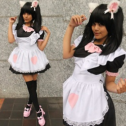 Justice - Spreepicky Maid Dress, Uniqso Black Ponytail Wig (Short) - How May I Serve You?