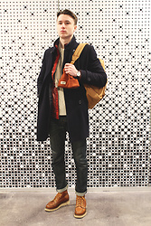 Nikita - Burton Coat, Herschel Backpack, Timex Watches, Dravus Hat, River Island Sweater, Levi's® Denim, Thorogood Boots - Winter days look