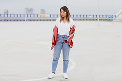 May B. - Zara Red Patent Leather Jacket, Levi's® High Waist Jeans, Vans White, Weekday T Shirt - Red Patent Leather Jacket | OHMAYGOD.com