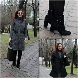 Rebel Takipte - Zaful Knitted Dress, Ami Club Wear Boots - Knitted Dress