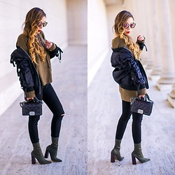 Sasa Zoe - Bomber, Only $25 Lace Up Sweater, Ankle Booties, Jeans, On Sale For Only $20 Sunglasses - LACE UP, STRETCHY ANKLE BOOTIES, RIBBON BOMBER
