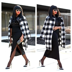 TOMGFASHION COM - Sheinside Collarless Coat - Checkered