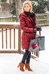 Kim Tuttle - Bernardo Puffer Coat, Lanvin Plaid Wool Scarf, Tory Burch Gemino Tote, Beast Fashion Ivy In Cognac - Winter Warmth