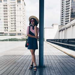 Cassey Cakes - H&M Straw Hat, Mango Denim Dungarees - Nautical Week