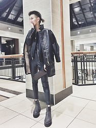 Dva Lau - R+A Leather Jacket, Noise And Silence Bomber Jacket, Topshop Leather Trousers, Rick Owens Wallet - Long time