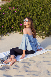 Alyssa Casares - Alyssa Nicole The Bridget Blouse, Michael Kors Aviators - Sea Breeze