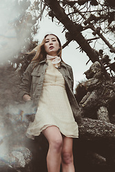 Alyssa Casares - Alyssa Nicole The Molly Dress, Urban Outfitters Scarf, Army Jacket - Into The Trees