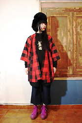 Ping Chiu Armando - Puni Palletta Black Sweater Dress, Haori, Converse Purple Trainers - Haori Kimono