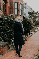 Julien Garman - Cuyana Navy Wool Coat, M.Gemi Black Boots, 7 For All Mankind Dark High Waist Denim, Denada Oversized Scarf - Oversized Scarf and Navy Wool Coat
