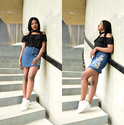 Foyin Og - Mr Price Off Shoulder Top, Mr Price Embroidered Denim Skirt, Nike Sneakers - Me, circa 2017