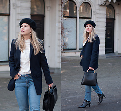 Jules V - H&M Beret, Zara Blazer, Mango Bag, H&M Jeans (Diy), & Other Stories Boots - Navy blue favourite