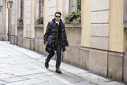 Ronan Summers - Gloverall Khaki Toggle Coat, Next Double Breasted Checked Suit, Base London Boots, Gucci Havana Sunglasses - Milano Moda Uomo AW17 In My Gloverall