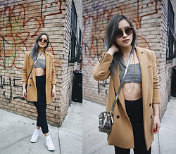 Jessica Tran - Madewell Tan Blazer, Jac+ Jack Cropped Trousers - Dreary Monday