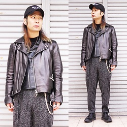 @KiD - (K)Ollaps New Wave Cap, Ch. Black Leather Ring Riders Jacjets, No Brand Black Leather Riders Jackets, Ch. Gray Pants, George Cox Fragile X - Japanese Trash 94