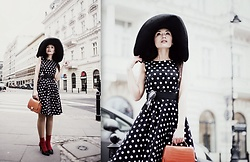 Porcelanna - Mohito Dress, Zara Bag, H&M Hat, Baldaccini Heels - Polka dot retro dress