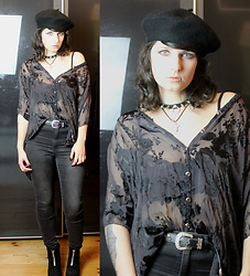 Maze - Dolls Kill Black Beret, Vintage Sheer Floral Blouse, Vintage Jewelry - Not Your Goth Doll