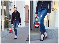 Lisa Valerie Morgan - Marc By Jacobs Cropped Blazer, Adriano Goldschmied Jeans, Zara Pumps - Backpack Blues