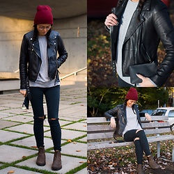 Gabrielle Tan - Blundstone Boots, Levi's® Jeans, American Apparel Sweatshirt, Zara Biker Jacket, American Apparel Toque - Red+Leather