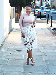 Regina Djosimar - Missguided Lace Skirt, Missguided Turtle Neck, Missguided White Heels - Lace Skirt