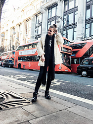 Alexandra H - Forever 21 Fluffy Coat, Nike Air Max Sneakers, Zara Knitted Scarf, Calvin Klein Logo Sweater, Chanel Classic Bag (Medium) - Posing on Oxford Street