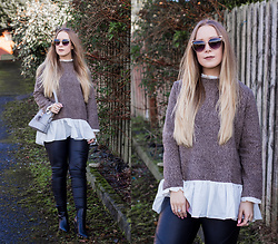 Emma Reay - Shein Brown And White Sweater, Cheap Ass Sunglasss Sunglasses - Casual every-day vibes