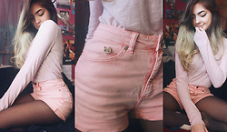 Virginia Moon - Aeropostale Pink Lacy Long Sleeve Top, H&M Pink High Waisted Shorts, Primark Grumpy Cat Pin - Femme