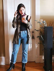 Michelle L. - Forever 21 Long Bomber, Levi's® Diy Distressed Jeans, Anne Klein Booties - Pixels on a Screen