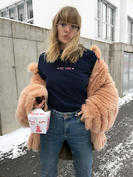 Lotta-Liina Love - Olive & Frank Not Yours Tee, Vintage Pink Fur Coat, Topshop Mom Jeans, The Local Thai Place Yummy Noodles - Not Ur Babe.