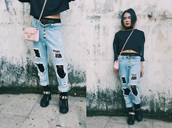 Kylie Rodriguez - Thrifted Black Cropped Top, Chanel Pink Classic Mini Flap, Forever 21 Back Lace Tights, Forever 21 Ripped Jeans, Aldo Black Sneakers - Lace tights under ripped jeans.