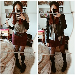 Luc S. - Springfield Ramones Tee, Bershka Plaid Skirt, Primark Polka Dots Tights, Yeves Martín Chunky Boots, Lefties Faux Leather Jacket, Lefties Hoodie - Road to ruin.