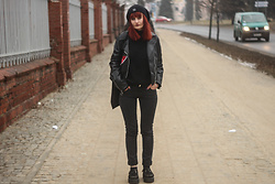 Karolina K - Rosegal Biker Jacket, Zaful Sweater, Demonia Creepers - Black Celebration