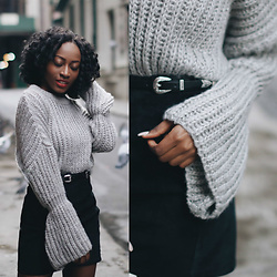 Nkenge Brown - Zaful Bell Sleeve Sweater, Thrifted Black Leather Skirt - Mermaid Sleeves