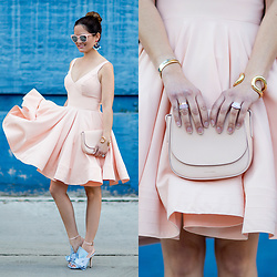 Jenn Lake - Mac Duggal Pink Fit And Flare Dress, Mansur Gavriel Pink Crossbody Bag, No. 21 Knotted Striped Sandals, Baublebar Blue Statement Earrings, Giles And Brother Large Cortina Cuff, Quay Pink Isabell Sunglasses - MAC Duggal Pink Dress