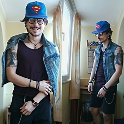 Dean Simon - Forever 21 Superman Baseball Hat, Zara Vintge Glasses, Pull & Bear Vintage Ripped Denim Jacket, H&M Basics Shirt, H&M Sporty Shorts, Rolex Golden Watch - #They Call Me Superman, I'm Here To Rescue You