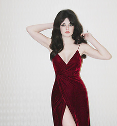 Abbey - Red Velvet Dress - Burgundy
