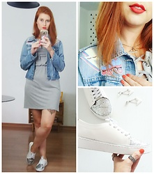 THAIS Schaedler - Sul Center Vestido Cinza, Chamego Tênis Branco Com Glitter, Ziovara Patches, Aliexpress Colar I Want To Believe - Patched jacket