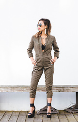 Eliza Romero - Ray Ban Aviators, Moschino Logo Earrings, Free People Fleetwood Flight Suit, Urban Outfitters Strappy Lace Bralette, Jeffrey Campbell Shoes Platform Sandals - The Tragic Cool Girl