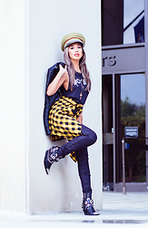 Eliza Romero - Free People Lieutenant Hat, Brightside Boutique Boy Bye Tee, Nasty Gal Layered Cross Necklace, Vans Yellow Check Shirt, Citizens Of Humanity Coated Black Jeans, Asos Black Leather Moto Jacket, Jeffrey Campbell Shoes Black Hawthorne Boots - Levels Like No Other