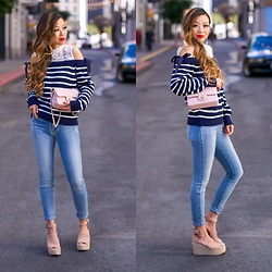 Sasa Zoe - On Sale Ribbon Bow Sweater, Jeans, Wedges, Earrings, Bag - RIBBON BOWS AND FAV WEDGES