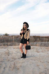 Sandy Joe Karpetz - Black Felt Wide Brim Hat, Ray Ban Aviators, Vintage Suede Western Jacket, H&M Black A Line Denim Skirt, Aldo Black Western Boots, Aldo Black Bag - Magic Hour
