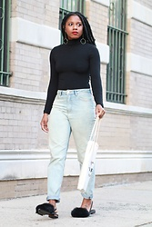 Monroe Steele - American Apparel Top, Forever 21 Denim, Tibi Fur Slides - Harlem Girl